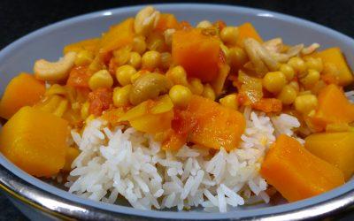 Pompoen kikkererwten curry