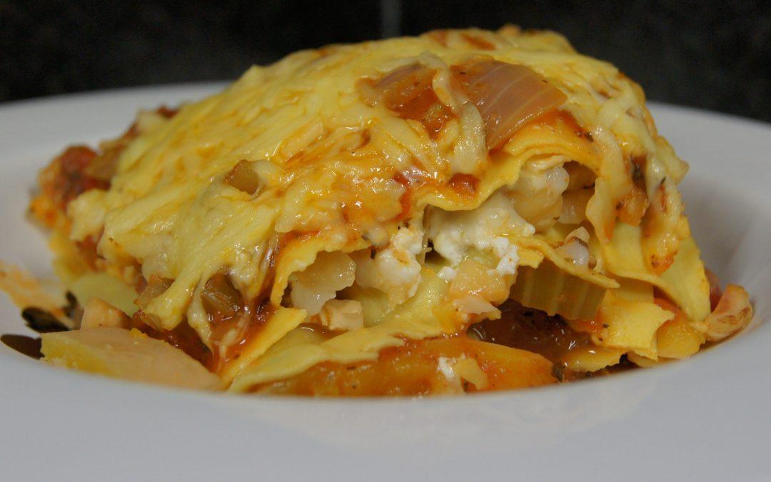 Lasagne met pompoen, hazelnoten en geitenkaas