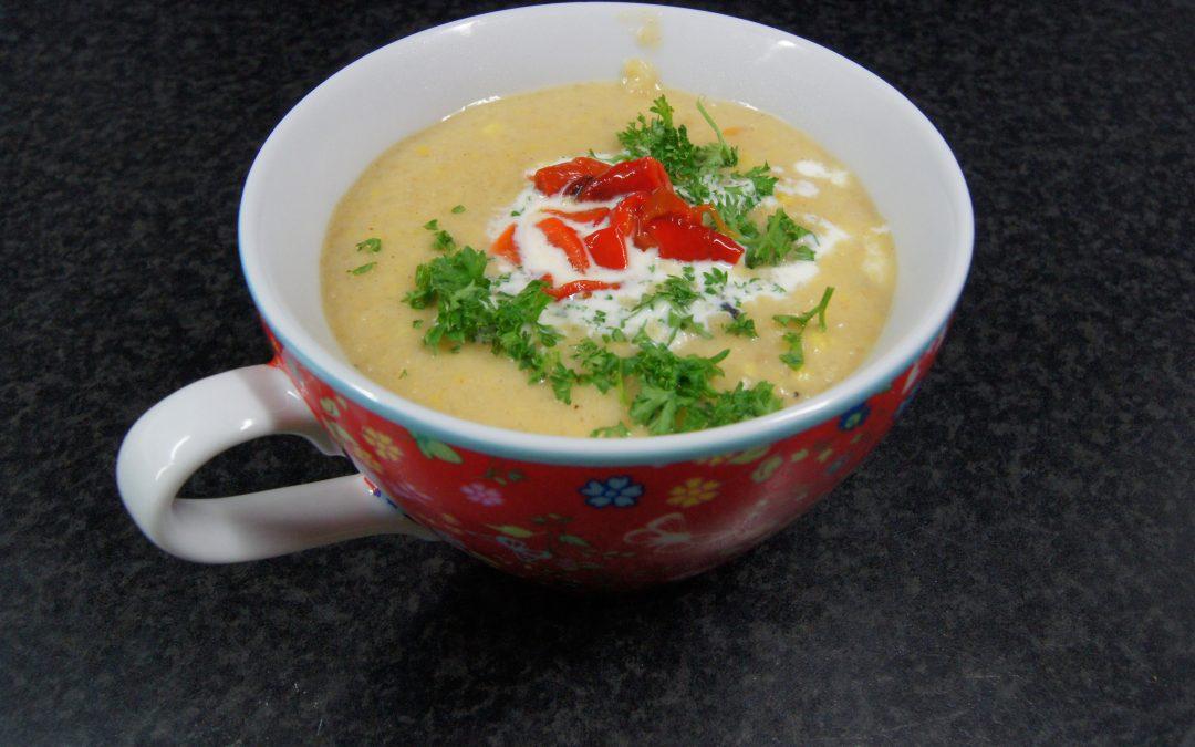 Chili-maissoep met gegrilde paprika
