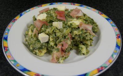 Boerenkool met brie en rauwe ham