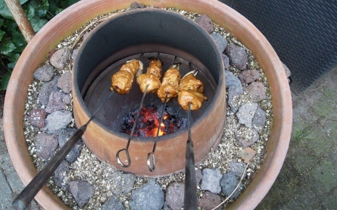 Kip, panir en champignons uit de tandooroven