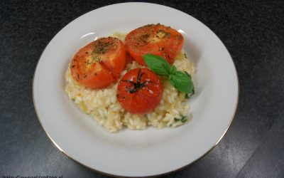 Risotto met gepofte tomaten