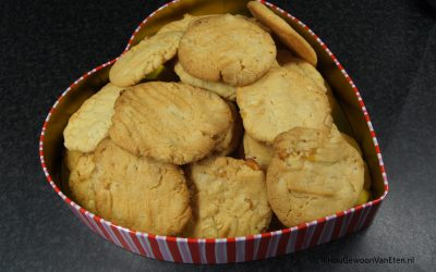 Koekjes met abrikoos, gember en witte chocola