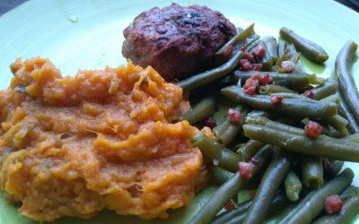 Komkommer-dille ijs en zalige zoete aardappel puree