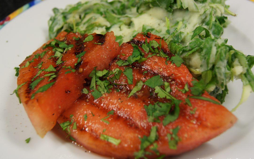 Rucolastamppot met gegrilde watermeloen