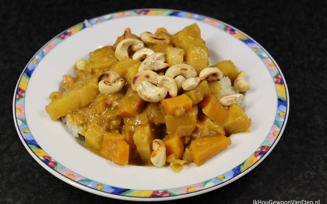 Korma curry met pompoen en pastinaak