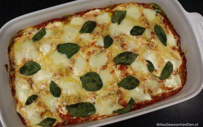 Ovenschotel met girasoli, macaroni en spinazie
