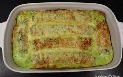 Filorolletjes met spinazie en ham