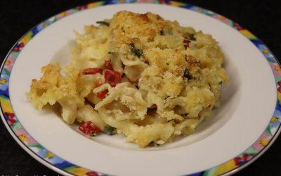 Mac 'n cheese met gegrilde paprika en geitenkaas