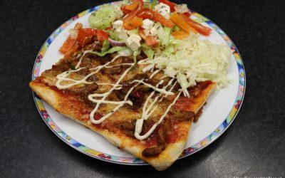 Plaatpizza met gyros