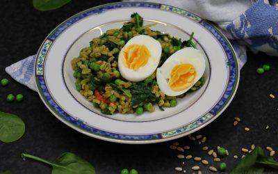 Parelgerst met erwtjes en spinazie