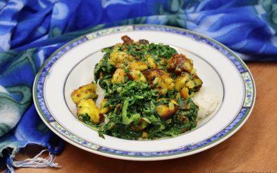 Curry met spinazie en halloumi