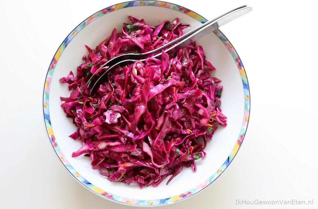 Knapperige rode kool salade